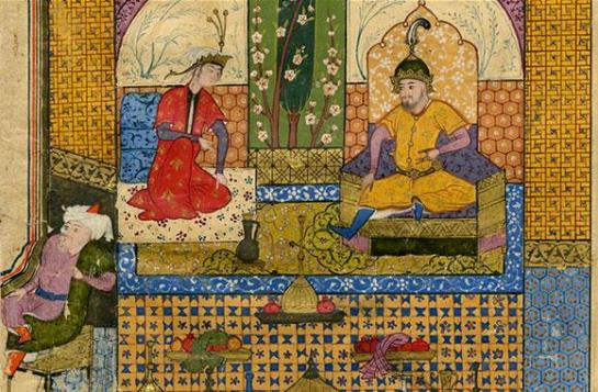 Detail of a page (c. 1580) from Minassian Collection, a database of Persian, Mughal, and Indian miniature paintings at Brown's Center for Digital Scholarship.